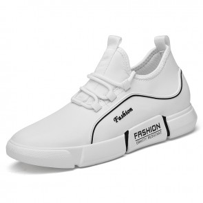 White Elevator Leather Fashion Sneakers Increase 3.2 inch / 8 cm Performance Lift Casual Sports Shoes
