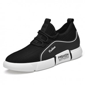 Elevator Flyknit Fashion Sneaker for Men Add Taller 3.2 inch / 8 cm Black Relaxed Lift Running Shoes
