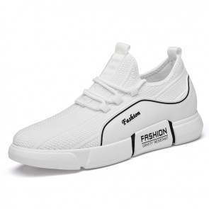 Hidden Lift Flyknit Fashion Sneaker White Relaxed Lift Running Shoes Add Height 3.2inch / 8cm