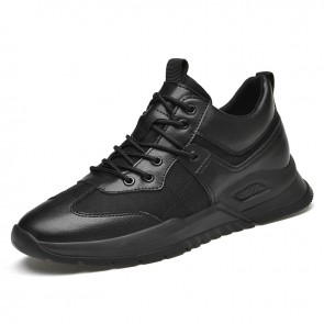 Height Increasing Men Fashion Sneakers Add Taller 3.2 inch / 8 cm Black Breathable Lift Casual Sports Shoes