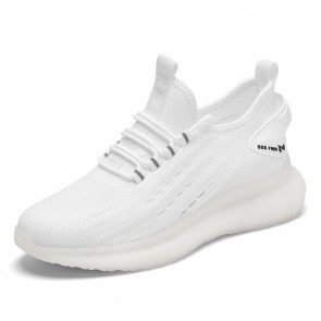 Elevator White Flying Shoes for Men Add Height 2.8 inch / 7 cm Lightweight Slip On Fashion Sneakers