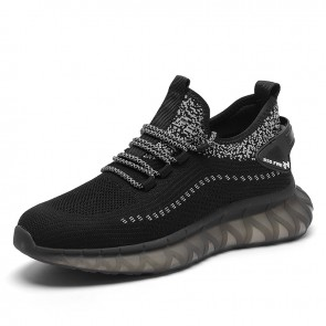 Black Minimalist Height Increasing Flyknit Shoes Add Taller 2.8 inch / 7 cm Hidden Lift Trendy Workout Shoes