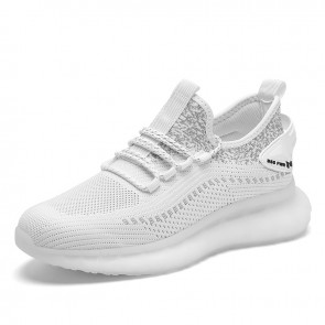 White Minimalist Elevator Flyknit Shoes for Men Taller 2.8 inch / 7 cm Hidden Lift Trendy Workout Shoes