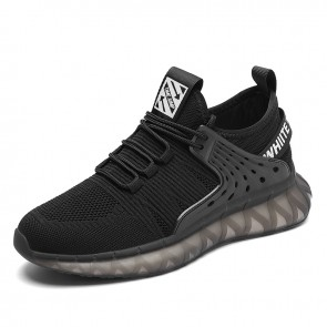 Sustainable Elevator Fashion Sneakers for Men Add Taller 3 inch / 7.5 cm Black Flyknit Non Slip Running Shoes