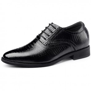Italian Elevator Oxford Shoes for Men Black Pointed Crocodile Pattern Height Business Shoes