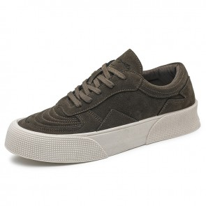 Men Low Top Skate Shoes Add Taller 2 inch / 5 cm Green Suede Height Elevator Hard Toe Platform Sneakers