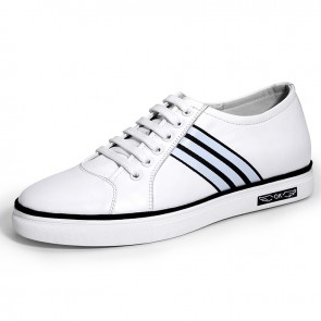 White Elevator Skateboarding Shoes for Men Taller 2.4inch / 6cm Calfskin Casual Shoes