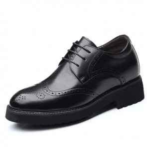 Lightweight Elevator Men Brogue Shoes Height Increasing Wing Tip Oxfords Add Taller 3.2inch / 8cm