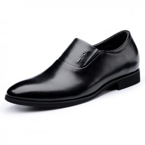 Black Elevator Business Loafers Slip On Tuxedo Shoes Taller 2.4inch / 6cm