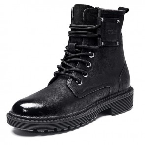 Retro Elevator Martin Boots Increase Height 2.6inch / 6.5cm Black Cowhide Chukka Boot