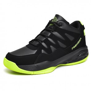Black-Green Hidden Taller Basketball Shoes for Men Increase 2.8inch / 7cm High Top Non-Slip Running Shoes
