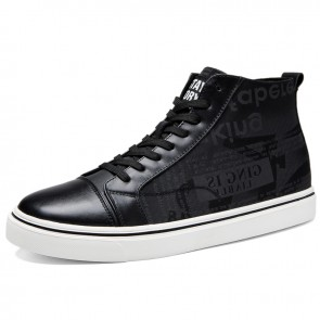 2021 Elevator Hight Top Sneakers Black Canvas Skateboarding Shoes Add Height 2.4 inch / 6 cm