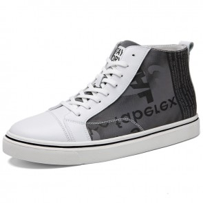 2021 Elevator Hight Top Sneakers White Canvas Skateboarding Shoes Gain Taller 2.4 inch / 6 cm