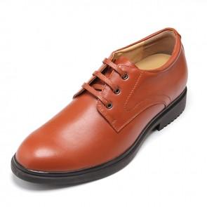 Yellow cowhide men high heel dress shoes 5.5cm / 2.17 inch plain toe shoes