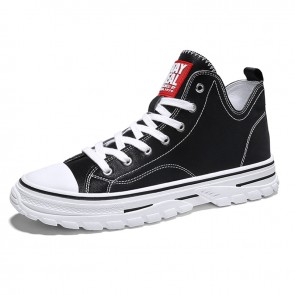 Black High Top Elevator Sneakers for Men Get Taller 2.8inch / 7cm Lightweight Hidden Heel Skate Shoes