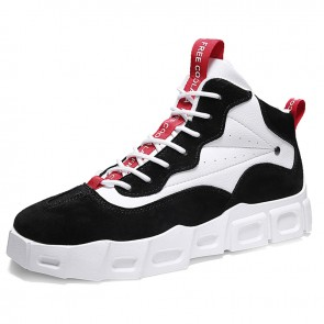 Black High Top Skateboarding Shoes Increase Height Korean Trendy Elevator Sneakers 2.8cm / 7c