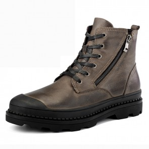 Taller Men Zipper Motorcycle Boots for Men Add Height 2.4 inch / 6 cm Brown Safety Toe Casual Chukka Boot