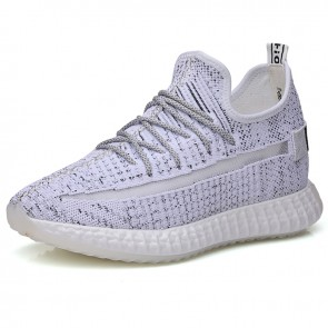 Performance Flyknit Height Increasing Sneakers Gain Height 4 nch / 10 cm White Elevated Skateboarding Running Shoes