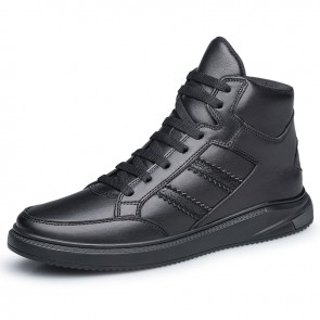 Concise Elevator High Top Skate Shoes Black Leather Casual Sports Boots Increase Taller 2inch / 5cm