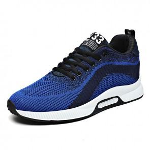 Blue Height Increasing Men Fashion Trainers  Add 2.4 inch / 6 cm Hidden Lift Flyknit Walking Running Shoes