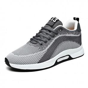 Gray Elevator Minimalist Sneakers for Men Add Taller 2.4 inch / 6 cm Hidden Lift  Flyknit Walking Running Shoes