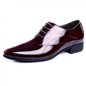 Shiny tuxedo wedding shoes add height 6cm / 2.36inch wine red pointy toe elevator oxfords