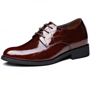 Get Taller 3.2inch / 8cm Dark Brown Plaid Design Lace Up Height Wedding Shoes