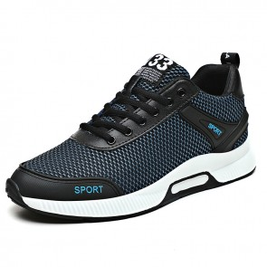 Lightweight Height Fitness Shoes for Men Increase 2.4 inch / 6 cm Blue Mesh Performance Running Shoes