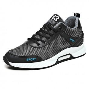 Lightweight Taller Men Fitness Shoes Add Height 2.4 inch / 6 cm Gray Mesh Performance Running Shoes