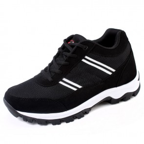 Black Urltra-Light Height Running shoes for Men Get Tall 7.5cm / 3inches Elevator Casual Sneakers