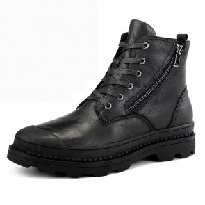 Elevator Zipper Motorcycle Boots for Men Add Taller 2.4inch / 6cm Black Safety Toe Business Chukka Boot