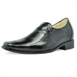 Black dress height increase elevator shoes for men 7cm / 2.75inches taller shoes