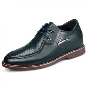 Blue embossing formal shoes raise height 6.5cm / 2.56inch with cow muscle outsole