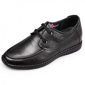 Black elevator driving shoes for men taller 2.4inch