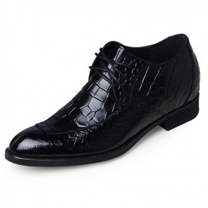 Black crocodile grain split toe taller oxfords 6.5cm / 2.56inch elevated formal dress shoes
