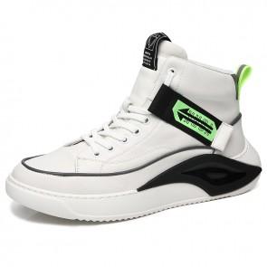 Best Taller Men High Top Sneakers Add Height 2.6inch / 6.5cm White Leather Hidden Lift Skateboarding Shoes
