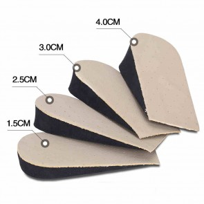 Half cowhide height increasing insoles add taller 1.5cm to 4cm