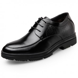 Winter warm elevator dress shoes lace up taller formal shoes 2.6inch / 6.5cm