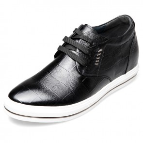 Fashion lace up height lift casual skate shoes 2.6inch / 6.5cm Black