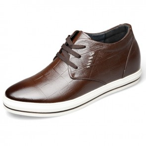 Fashion lace up hidden lift casual skate shoes 2.6inch / 6.5cm Brown