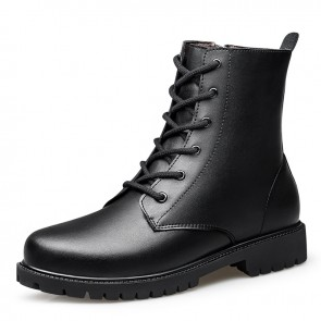 UK Height Increasing Fashion Boots Make You Look Taller 2.6 inch / 6.5 cm Side Zip Elevator Combat Boot