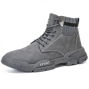 Gray Fashion Elevated Ankle Boots Sock Hidden Taller Casual Martin Boots Add Height  3 inch / 7.5 cm