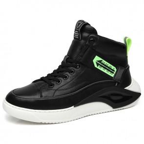 Best Elevator High Top Sneakers for Men Add Taller 2.6 inch / 6.5 cm Black Leather Hidden Lift Skateboarding Shoes