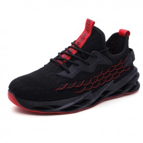 Black Elevator Blade Sneakers Flyknit Mesh Comfortable Casual Walking Running Shoes Add Height 2.4 inch / 6 cm