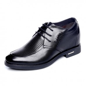 Summer extra taller 8cm / 3.15inch men dress sandals black lace up oxfords