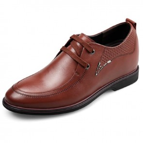 2017 Brown Cowhide Taller Dress Shoes 8cm / 3.2inch Lace Up Height Business Shoes