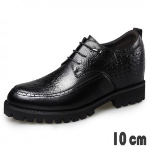 4inch Height Tuxedo Shoes for Men Taller 10cm Crocodile Embossed Calfskin Derbies