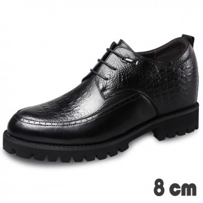Lightweight Taller Tuxedo Shoes for Men  Raise Height 3.2inch / 8cm Crocodile Embossed Calfskin Derbies