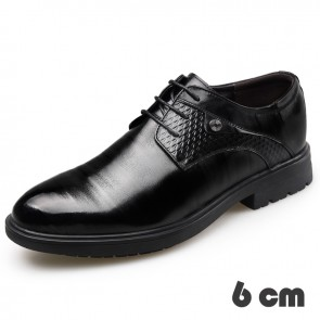 Gentlemen Elevator Shoes Add Taller 2.4inch / 6cm Lace Up Business Dress Shoes