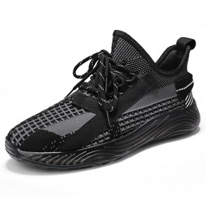 Elevator Slip On Fashion Sneakers Black Low Top Flyknit Men Loafers Add Height 2.4 inch / 6 cm